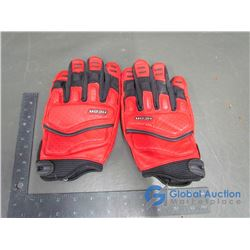 Leather Icon Motorcycle Gloves, L, Red