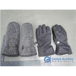 Black Hotpaws Gloves (m) & Fleece Mits Grey