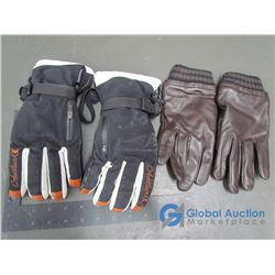 Black Auclair SKi Gloves (m), Mens Leather Calvin Klein Gloves (s) Brown