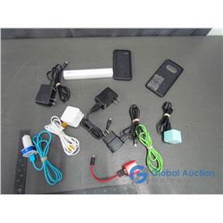 USB Type Micro B Cords (6) , Car Adaptor Charger, 3.5 mm Male to Male Aux Cable