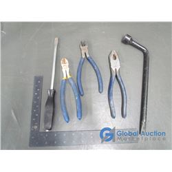 Tire Iron, Large Flat head Screwdriver and Wire Cutter Pliers