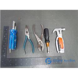 Slip Joint Pliers, Needle Nose Pliers, & Multi Tool Bit Screwdriver