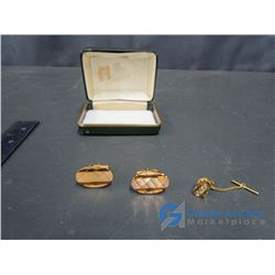 Century Gold Coloured Cufflinks and Tie Tack