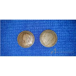 1895 Queen Victoria Penny and 1921 George IV Crown