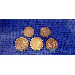 (3) Silver Dollars (1953, 1967 & 1978) and (2) 50 Cents Coins (1941 & 1946)