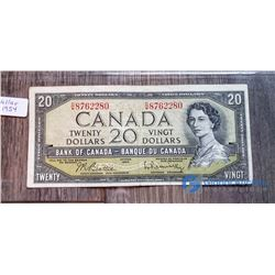 1954 20 Dollar Canada Bill