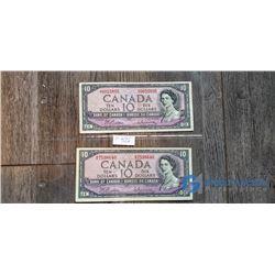 (2) 1954 10 Dollar Canada Bills