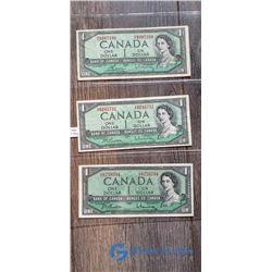 (3) 1937 1 Dollar Canada Bills