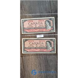 (2) 1954 2 Dollar Canada Bills