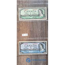1954 1 Dollar Bill & 1954 5 Dollar Bill