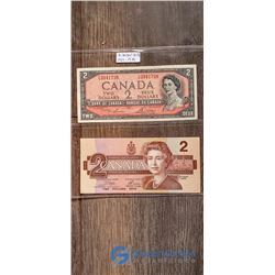 (2) 2 Dollar Canada Bills (1954 & 1986)