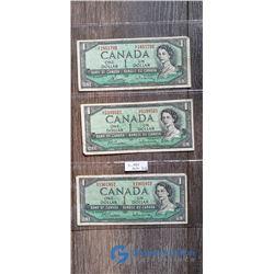 (3) 1954 1 Dollar Canada Bills