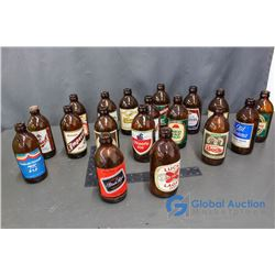 (18) Vintage Stubby Beer Bottles with Labels