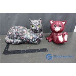 Ceramic Cat Bank and Paper Mache Cat Ornament
