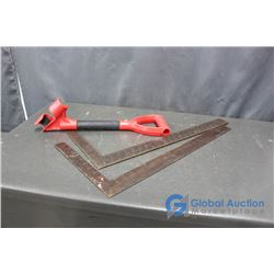(2) Carpenter Squares and Shovel Handle Assist Tool