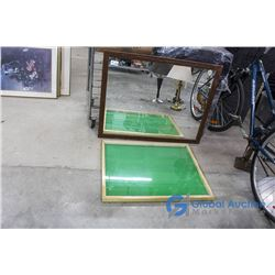 **Wooden Framed Mirror (29x37) and Display Case (24x30)