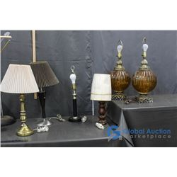 **(4) Vintage Table Lamps and (2) Glass Table Lamps