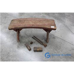 **Wooden Bench and Misc Vintage Items