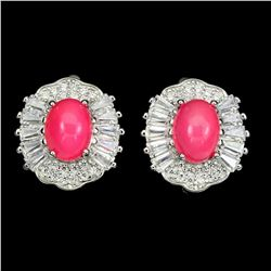 Natural Unheated Oval Pink Fire Opal 8x6 MM Earrings