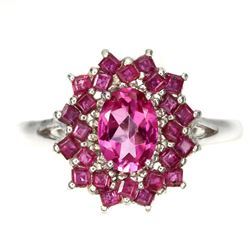 Natural Rich Pink Topaz & Red Ruby Ring