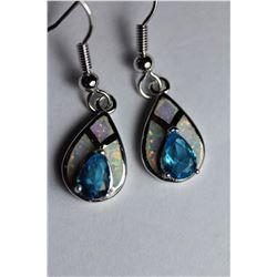 Natural London Blue Topaz & Opal Earrings