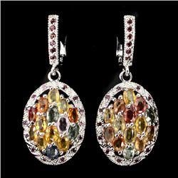 Natural Fancy Color Sapphire Garnet Earrings