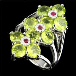 Natural Rich Green Peridot & Ruby Ring