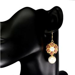 Natural Pearl & Untreated Ruby Earrings
