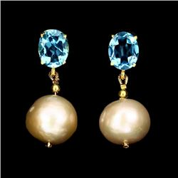 Natural Pearl & Swiss Blue Topaz Earrings