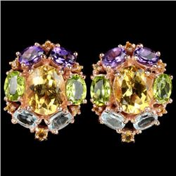 Natural TOPAZ AMETHYST CITRINE & PERIDOT Earrings