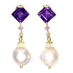 Natural Pearl & Amethyst Earrings