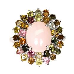 Natural Pink Opal 11x9mm &  Sapphire Ring