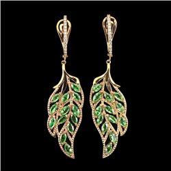 Natural Marquise Green Tsavorite Garnet Leaf Earrings