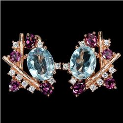 Natural AAA SKY BLUE TOPAZ RHODOLITE GARNET Earrings