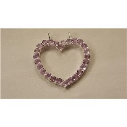 7.50 CT PINK ROSE DE FRANCE AMETHYST HEART PENDANT