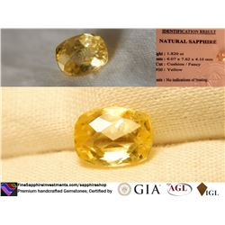 Strong Gold/Yellow Sapphire, unheated | GIA 1.82 ct