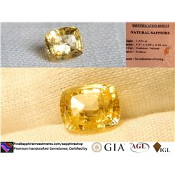 Vivid Strong Yellow Sapphire, premium cut, GIA 1.53 ct