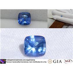 Vivid Blue premium Sapphire, handcrafted, GIA 0.74 ct