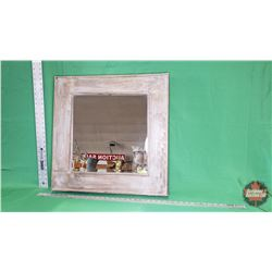 "Mirror - Bevelled - Wood Frame - Grey (23.5"" x 23.5"") : From Toys & Treasures, Wainwright, AB"