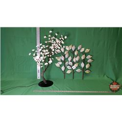 """Décor Combo: Lighted Cherry Blossom Tree (30""""H) & Wall Décor - Gold/Silver Leaf Design - Tin : From"""