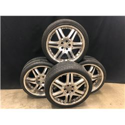 4 WHEELS AND TIRES: SET OF 2 5X112 19X8 5JJ WHEELS, AND SET OF 2 19X9 5J WHEELS, ALL 4 TIRES VERY