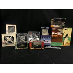 ASSORTED MODEL MILITARY VEHICLES INC. PLANES AND TANKS, MODELS BY DRAGON, HERPA, GULLIVER AND MORE