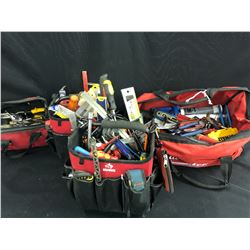 4 TOOL BAGS WITH ASSORTED CONTENTS INC. ASSORTED HAND TOOLS, LEVELS, SCREW DRIVERS, SHEARS AND MORE