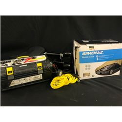 AUTOMOTIVE ITEMS INC. PAIR OF ZT741TIRE CHAINS, SMITTYBILT 12V AIR COMPRESSOR, AND SIMONIZ CAR