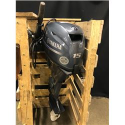 YAMAHA 4 STROKE 15 HP OUTBOARD BOAT MOTOR, NEAR NEW CONDITION, NOT TESTED