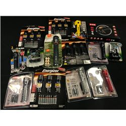 ASSORTED BATTERIES AND FLASHLIGHTS