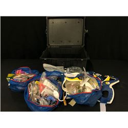 LOT OF MEDICAL/EMERGENCY FIRST AID EQUIPMENT AND TRAINING INFORMATION WITH PELICAN CASE