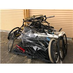 PALLET OF ASSORTED BIKE PARTS INC. FRAMES, WHEELS, FORKS AND MORE, BRANDS INC. KONA, SPECIALIZED,