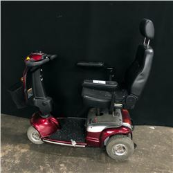 RED SHOPRIDER MOBILITY SCOOTER, DOES NOT POWER ON, NO CHARGER, NO KEY, NOT TESTED, POOR CONDITION