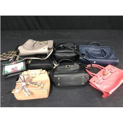 9 ASSORTED NEW & LIGHTLY USED DESIGNER  PURSES AND WALLETS (AUTHENTICITY UNKNOWN)